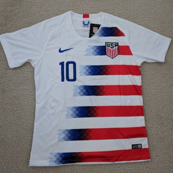 buy popular 9b2a6 628c3 Christian Pulisic #10 Nike USA Soccer Jersey White NWT